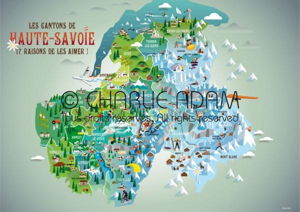 haute savoie carte touristique Carte des cantons de Haute Savoie   Tourisme   Portfolio   Charlie